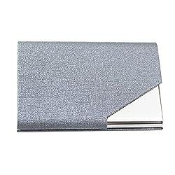 Business Card Holders, Chameiee Womens Mens Business Card Holder Wallet Leather Business Card Organiser Business Card Casesname Card Holdercredit Card Holdersbusiness Card Holder For Men Women (Grey)