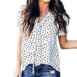 SEWORLD Damen Sommer Mode Frauen V-Ausschnitt Kurzarm Polka-Punkt Glocken Ärmel Aufflackern Hülse T-Shirt Tops Bluse(Weiß,L)