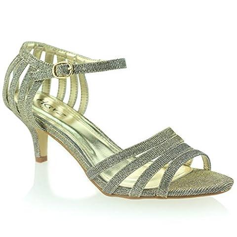 Femmes Dames à lanières Pétillant Briller Talon Moyen Soirée Mariage Bal de Promo Étain Sandale Chaussures Taille 40