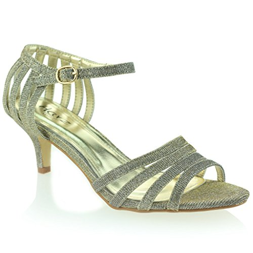 Frau Damen Riemen Funkelnd Mittlere Ferse Abend Party Hochzeit Abschlussball Zinn Sandale Schuhe Größe 40 (Pewter Gladiator-sandalen)