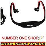 NUMBERONESHOP--Auriculares Reproductor MP3 Deportivos Sin Cables Micro SD USB Radio FM Rojo --ENVIO DESDE ESPANA
