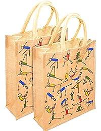 SAR Kreatiions Combo Pack Of 2 Jute Yoga Print Lunch Bag/Office Bag/Shopping Bag For Men And Women