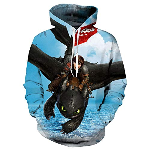 Muswanna87 Fashion 3D Printed How to Train Your Dragon Light & Night Fury-Kostüme Kapuzenpullover The Hidden World Toothless Sweatshirts Pullover Hoodies Spring Tops Anime Cosplay Kostüm (A Typ, ()