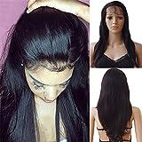 """Perruque Bresilienne Lace Wig Perruque Femme 100% Cheveux Humains Naturels Bresiliens Remy Raide - 360 Lace Frontal Wig (Densité: 130%, Longueur: 16""""/40cm)"""