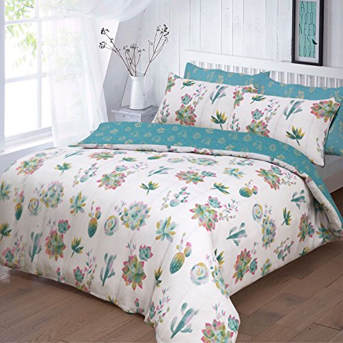 PIERIDAE Summer Cactus Garden Plant Design Reversible Duvet Cover Set with Pillowcases Bedding Set (Single) Best Price and Cheapest