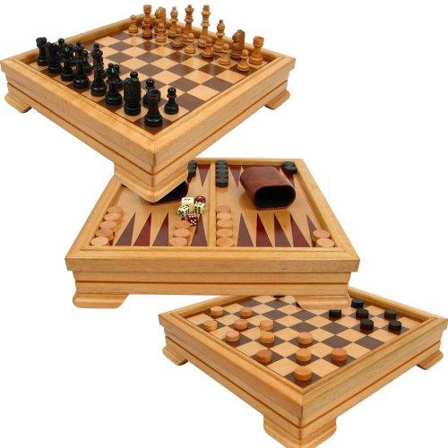 Trademark Games Deluxe 7in1Spiel Set-Schach, Checkers, Backgammon und mehr, Braun