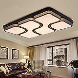 ETiME 45W 64x43CM Design LED Deckenlampe Warmweiß Deckenleuchte Wohnzimmer Lampe Schlafzimmer Küche Leuchte 2700K Schwarz Rechteck (64x43CM 45W Warmweiß)