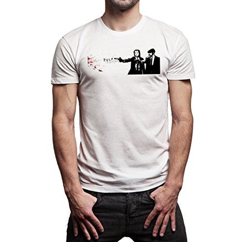 Pulp Fiction Ouentin Tarantino Movie Blood Smoke Background Herren T-Shirt Weiß