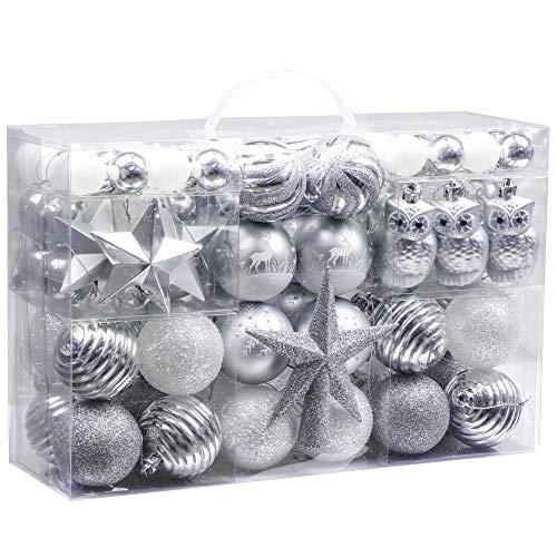 Victor's workshop palline di natale 100 pezzi palline di plastica impostare ornamento dell'albero di natale per la decorazione dell'albero di natale decorazioni per le feste di natale argento bianco