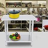 Doppelschicht Edelstahl Arbeitstisch Küchentisch Edelstahltisch für Küche Bar Restaurant (91 * 61 * 85 cm)