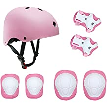 Casco y Protecciones Para Niñas Infantil Patinaje SKL Tamaño Ajustable Casco Rodilleras Coderas Muñequeras Deportivas BMX, Bicicleta, Skate, Monopatín (Rosa)