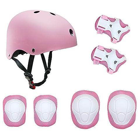 Topfire Kinder Scooter Hoverboard BMX Bike Helm, Hand-Knie, Ellenbogen Pads und Gel Pads - Rosa
