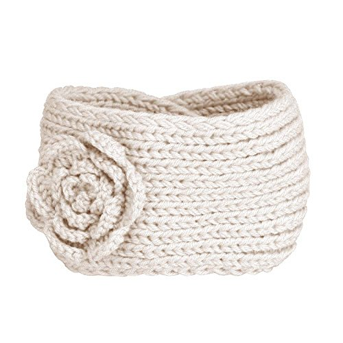 jaminy Strick-Häkeln-Kamelie-Blumen-Haar-Band-Stirnband Hairband (Beige) (Silk Stretch Top)