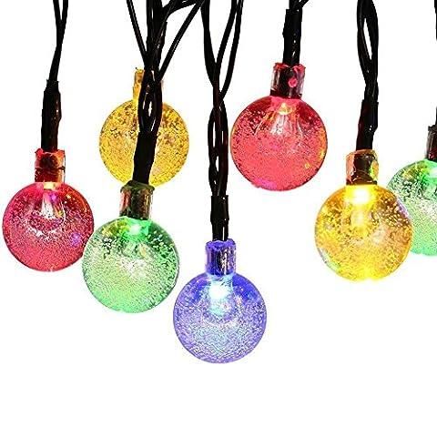 Guirlande lumineuse de Noël solaire Globe, 4,6m 30LED, 2modes de travail, boule de cristal Éclairage d'ambiance pour extérieur/jardin/maison/mariage/fêtes de Noël, résistant aux intempéries (Multi Couleur)