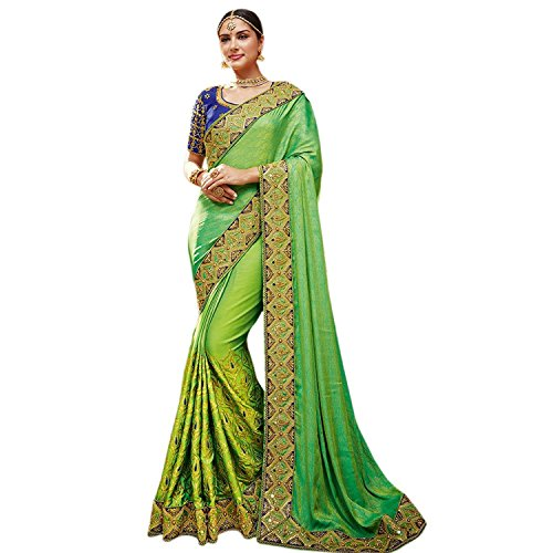 Fab Valley Women's Silk Saree With Blouse Piece (Fv3172R-F,Green,Free Size)