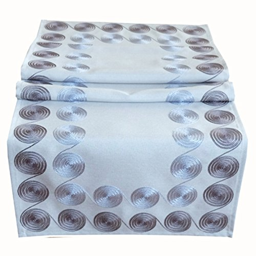 Tischläufer 40 x 140 cm Tischdecke Mitteldecke grau Kurbelstickerei Kreise
