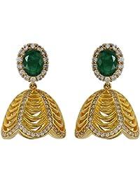 MUCH MORE Fabulous American Diamond Cz Fashion Jewellery Jade Stone Traditional Jhumki For Womens