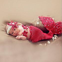 HAPPY ELEMENTS Bebé Niñas Niño recién nacido de punto de ganchillo sirena ropa Foto Proliferaciones