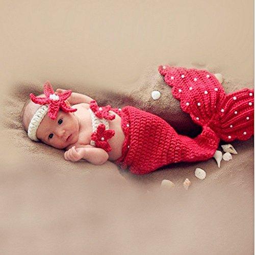 HAPPY ELEMENTS Baby Mädchen Neugeborenes strickte Häkelarbeit Meerjungfrau Kleidung Foto Stütze Ausstattungen