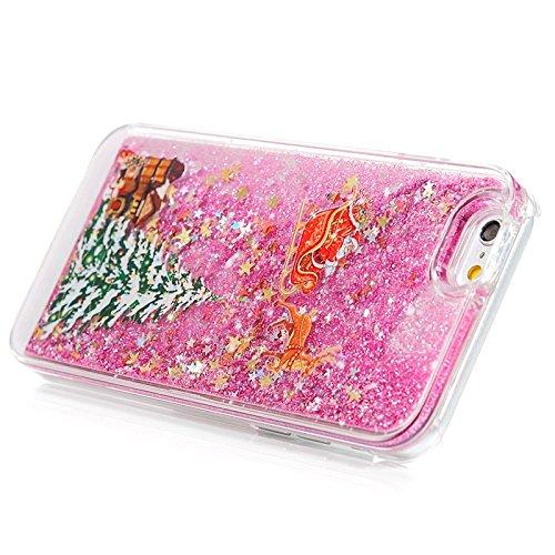 iPhone 6 / iPhone 6S Hülle, Yokata PC Transparent Hart Case mit Tannenbaum Motiv 3D Flüssigkeit Liquid Schutzhülle Bling Glitzer Diament Durchsichtig Rose Red