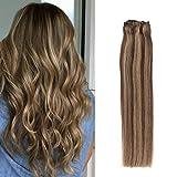 Komfami Remy Haarverlängerung Clip in Haarverlängerung Echthaar Echtes Haar 100 Gramm (50cm, Nr.4/27 Mittelbraun/Dunkelblond)