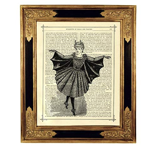 Vampir Mädchen Umhang Kostüm Kunstdruck auf viktorianischer Buchseite Geschenk Halloween Gothic Steampunk ungerahmt