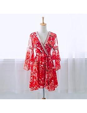 pllp Vestido floral de gasa, nueva falda de playa de gran tamaño de playa de verano femenina, falda de falda de...