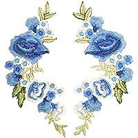 Cdet. 1 Par Parche Elegante Delicada Flor Bordado Pegatinas de Tela DIY reparación Apliques Ropa de Mezclilla Accesorios Parche de Costura (Azul) 22 * 27cm