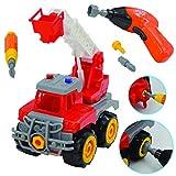 deAO Camion de Construcción para Montar y Desmontar Vehículo Puzle Incluye Excavadora Destornillador y Taladro Electrico (Camión Grúa)