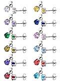 12 Paar Stud Ohrringe Edelstahl Ohr Stud Rund Zirkonia Ohrring für Frauen Mädchen, 12 Farben