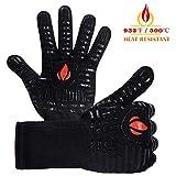 NewTsie Grillhandschuhe, Ofenhandschuhe, Hitzebeständige Handschuhe bis 932℉(500℃), Lange Strick und Silikon BBQ Feuerfeste Kochhandschuhe zum Grillen, Kochen, Backen und Löten - [1 Paar] (Schwarz)