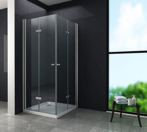dusch falttuer Falttür Duschkabine 8 mm Duschabtrennung Eckeinstieg Dusche Echt Glas 90 x 90 x 195 cm CLAP ohne Duschtasse