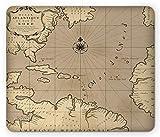 ASKSSD Tapis de Souris Island Map Mouse Pad, Old Geographic Map Atlantic Ocean Region Location Schema of Earth Illustration, Standard Size Rectangle Non-Slip Rubber Mousepad, Tan Beige...