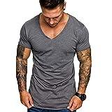 Xmiral T-Shirt Oberteile Herren Sommer V-Ausschnitt Lässige Polyester Dünne Kurzarmbluse Tops Sweatshirt Fitness Sport Hemd(M,Grau)