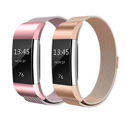 """Sun studio Correa Fitbit Charge 2, Milanese Loop de Acero Inoxidable Reemplazo Wristband Pulsera Fitbit Charge 2 con Cerradura Imán para Fitbit Charge 2 (Oro + Oro Rosa, 5.5""""-8.5"""")"""