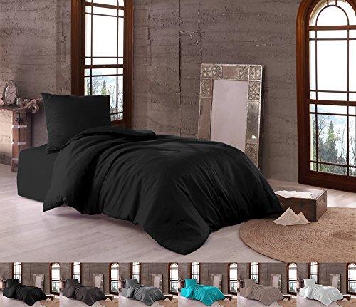 Niceprice Premium Mako Satin Bettwäsche 100% Baumwolle in 3 Größen und 6 Farben, 2tlg. Set 135x200 + 80x80 cm Schwarz