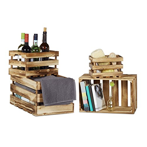 Relaxdays Caisse en bois vintage lot de 4 look shabby cagette de fruits caisse de vin décoration