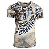 Rusty Neal Herren T-Shirt Verwaschen Figurbetont A1-RN-15163, Größe:M, Farbe:Beige