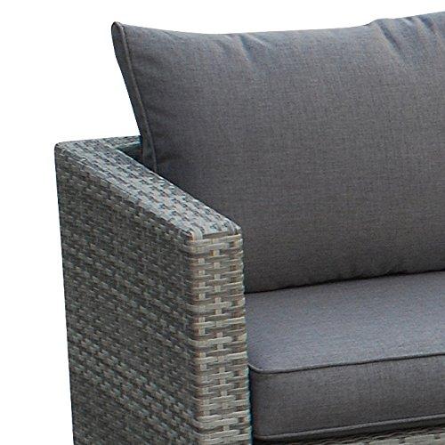 POLY RATTAN Sitzgruppe Sofa Lounge Set grau - 3