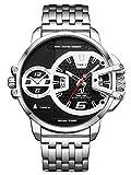 Alienwork Herren-Armbanduhr Quarz Silber mit Edelstahl Metallarmband Kalender Datum schwarz XXL Oversized