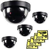Ex-Pro Caméra de vidéo surveillance factice argentée et noire, à piles, avec éclairage LED clignotant et infrarouge, panneau solaire, pour l'intérieur et l'extérieur