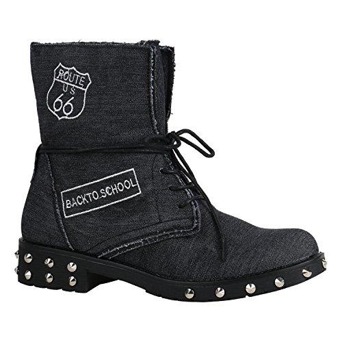 Damen Schuhe Schnürstiefeletten Leicht Gefüttert Stiefeletten Profilsohle 156853 Schwarz Nieten Denim 38 Flandell