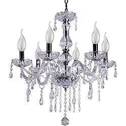 Ridgeyard moderno 6 brazos luces cristal araña viva iluminación techo luminaria lámpara pasillo casa habitación decoración (White)