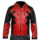 classyak Herren Fashion Deadpool Hoodie Leder Jacke Gr. XXXXX-Large, Faux Red