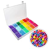 Assorted Pony Beads (2300pcs) - (6mm) Plastic Craft Beads with Organiser Case - Transparent Beads for Sewing, Beading, Bracelets, Necklaces, Key Chains & Kid Jewelry Making in Bulk Set