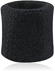 Westeng Wrist Wraps – Bandas Muñequeras para el sudor, bandas de uso profesional de paño de algodón, muñequeras atléticas deportivas, para Yoga, en muchos colores., negro