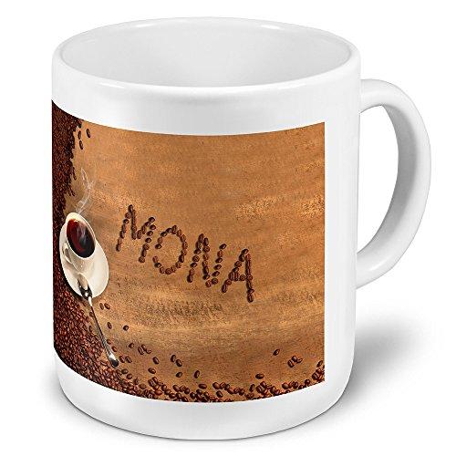 """XXL Riesen-Tasse mit Namen """"Mona"""" - Jumbotasse mit Design Kaffeebohnen - Namens-Tasse,..."""