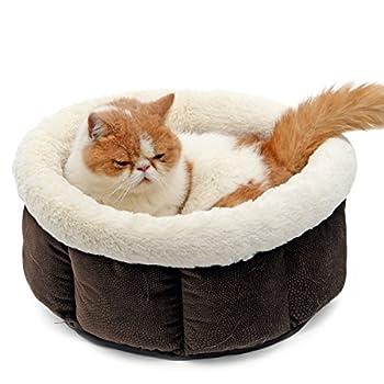 PAWZ Road Pets lit Paniere chat Caverne chaton chatiere chat Form Rond Ultra Doux de laine Pour Chiens chats pour Animaux De Compagnie Lavable En Machine ( Couleur : Marron )