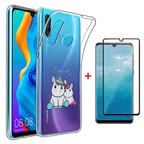 Lanpangzi Kompatibel mit Huawei P30 Lite Hülle + 5D Gehärtetes Glas Displayschutzfolie TPU Silikon Transparent Ultradünn Handyhülle Anti-Kratzer Schutzhülle - Paar Einhörner -