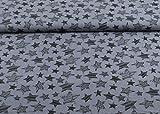 Excellenter Musselin Stoff gemustert mit Sternen auf grau als Meterware | Maße: 25 cm x ca. 130 cm | 1A ÖKO-TEX Qualität Standard |